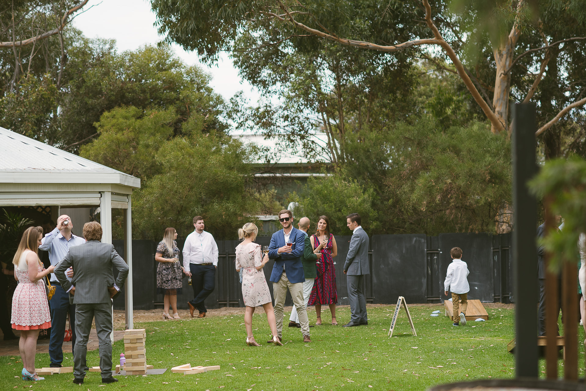 guests enjoying wine and beer on lawn at beach road wines in mclaren vale south australia
